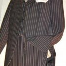 Highest Quality Jet Liquid Black Pinstripe Vested Suit Super 120'S 100% Wool Feel