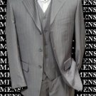 Super Stylish Stunning Light Gray Pinstripe 3 Pieces Vested Super Fine Wool Feel Poly~Rayon