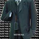 Luxurious #Mu3B Black & Smoth Conservative Pinstripe 3 Pieces Vested Business Suits Double Side Vent