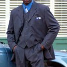 Sophisticated 3 Piece Available In 3 Button Style Jacket High Vested Navy Blue Stripe Mens Suit