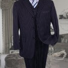 Ts-35 3Pc 3 Button Color Navy Blue Vested Mens Suit With Pinstripe