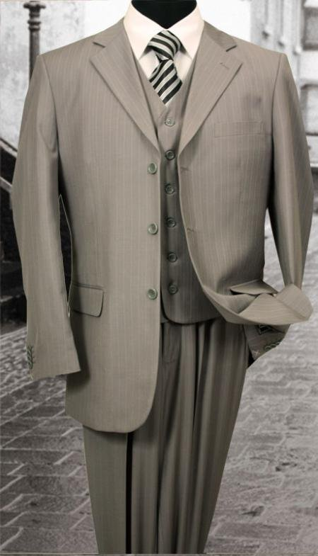 Nice 3Pc 3 Button Gray Pinstripe Mens Suit With A Vest
