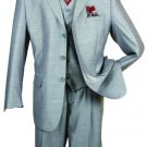 Men'S Silver Gray-Ash 3 Piece 3 Button Suit With A Fully Lined Vest And Pleated Pants