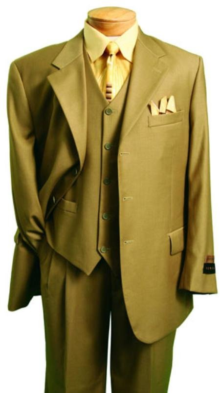 Men'S Fashion Suit In Super 150'S Luxurious Wool Feel British Khaki