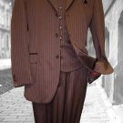 Burgundy Classic 3Pc 3 Button Tone On Tone Stripe Mens Suit