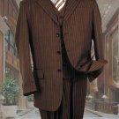 Mens Brown With Cream Pinstripe Vested 3 Piece Suit - Jacket + Pants + Vest