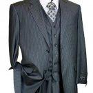 Mens Charcoal Pinstripe 3 Piece 2 Button Single Pleated Pants  Suit
