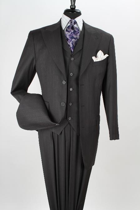Men'S 3 Piece 100% Wool Fashion Charcoal Stripe Suit - Side Vents