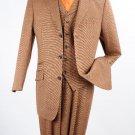 Men'S 3 Piece 100% Wool Fashion Brown Windowpane Suit - 3 Button Jacket