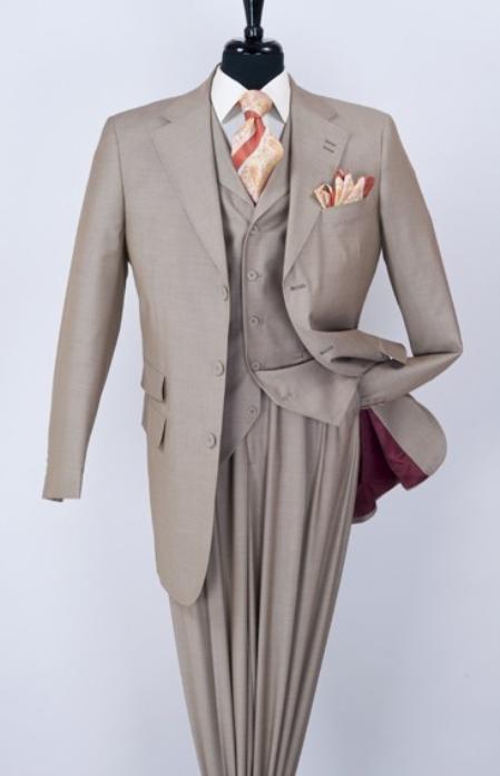 Men'S 3 Piece Fashion Tan Suit - Notch Lapel
