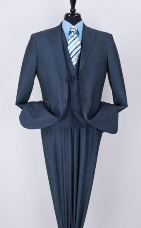 Men'S 3 Piece Fashion Blue Suit - Peak Lapel