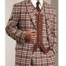 Mens 3Pc Vested Suit Brown