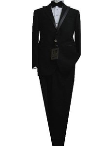 Fitted Tailored Slim Cut 2 Button Solid Black Modern Lapel Men'S Tuxedo