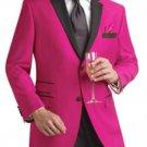 Fuchsia Two Button Notch Party Suit & Tuxedo & Blazer W/ Black Lapel