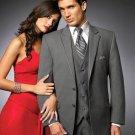 2 Btn Suit/Colored Tuxedo Satin Trim Outlines A Notch Lapel Matching Trousers Charcoal