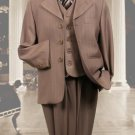 Tan 3Pc Pinstripe Suit With Vest For Kids