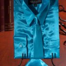 Boys Turquoise Satin Dress Shirt Combo