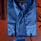 Boys Royal Blue Satin Dress Shirt Combo