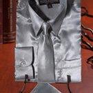 Boys Silver Satin Dress Shirt Combo