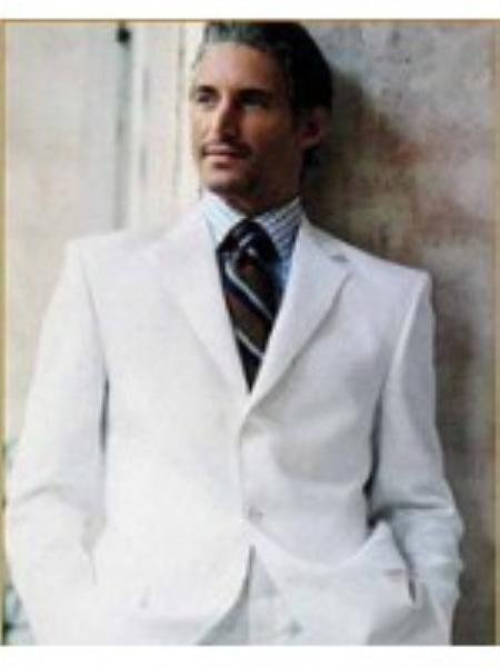 Mens Suit In 3 Button Style  Blend Suit White Or Off White