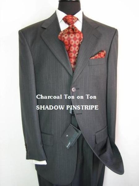 Charcoal Gray Ton On Ton (Shadow Pinstripe) Super Extra Fine 100% Wool