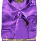 Men'S New Purple Satin Dress Shirt Tie Combo Shirts