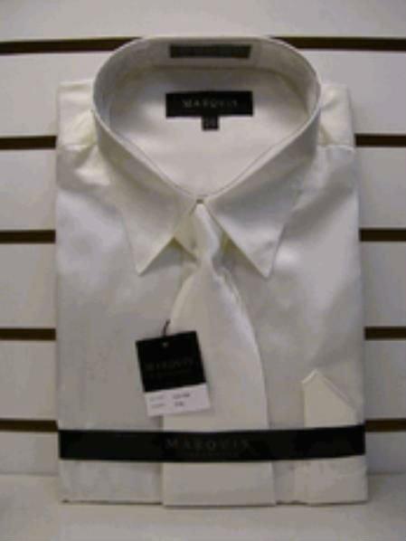 Men'S New Cream Ivory Satin Dress Shirt Tie Combo Shirts