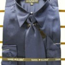 Men'S New Navy Satin Dress Shirt Tie Combo Shirts