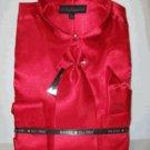 Men'S New Red Satin Dress Shirt Tie Combo Shirts
