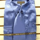 Men'S New Royal Satin Dress Shirt Tie Combo Shirts