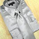 Satin Silver Grey Dress Shirt Tie Hanky Set