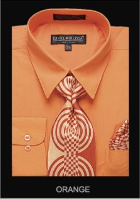 Men'S Classic Dress Shirt Orange