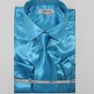 Mens Shiny Luxurious Shirt Turquoise