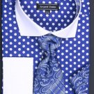 100% Cotton French Cuff Dress Shirt, Tie, Hanky And Cuff Links Polka Dot Blue White