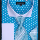 100% Cotton French Cuff Dress Shirt, Tie, Hanky & Cuff Links Polka Dot Turquoise/White