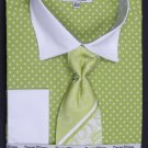 100% Cotton French Cuff Dress Shirt, Tie, Hanky & Cuff Links -Polka Dot Two Tone Lime