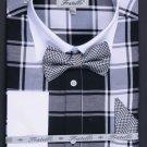 Men'S French Cuff Black Checker Dress Shirt Set