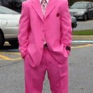 Brand New Solid Mens Dress Fashion Single Breasted Fuchsia Hot Pink (Rose) Fuchsia  Mens Suits