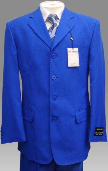 Elegant Solid Royal Blue Mens Dress Suits