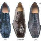 Onesto Genuine Crocodile And Ostrich * Squared-Toe In A Oxford Classic Lace Tie