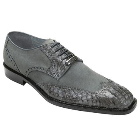 Belvedere MenS Grey Genuine Crocodile & Suede
