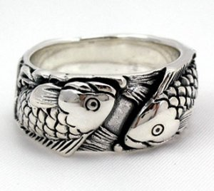 Japanese Carp Koi Fish Tattoos 925 Sterling Silver Wedding Band Rings