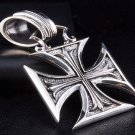 CHOPPER IRON CROSS HEAVY SOLID STERLING SILVER PENDANT