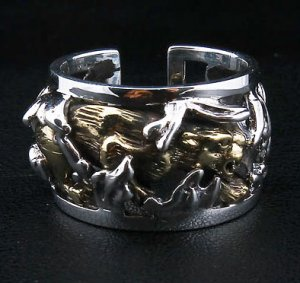 JAPANESE 14K GOLD TIGER TATTOO STERLING SILVER RING