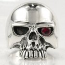 RUBY ROCKER SKULL .925 STERLING SILVER RING Sz 10.25