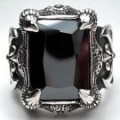 BLACK ONYX HEAVY 925 STERLING SILVER MEN'S RING Sz 9