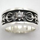 TRIBAL CELTIC TATTOO STERLING SILVER BAND RING Sz 13