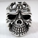 TATTOO SKULL BIG 925 STERLING SILVER MENS RING Sz 13.5