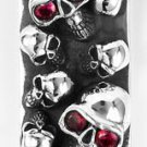 RUBY SKULL STERLING SILVER BILL HOLDER MENS MONEY CLIP