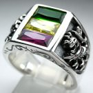 CELTIC RASTA LION RAMPANT STERLING SILVER MENS RING Sz 12.5